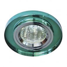 Встраиваемый светильник Feron 8060-2 зеленый серебро 20115